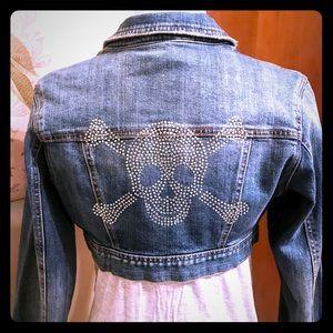 Jackets & Blazers - Skull Crossbones Rockin' Cropped Jean Jacket